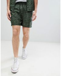 Another Influence - Two-piece Khaki Print Viscose Shorts - Lyst