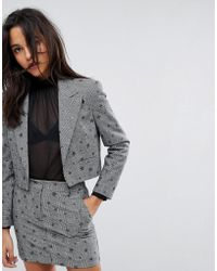 Miss Selfridge | Checked Star Print Cropped Blazer | Lyst