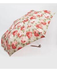 Cath Kidston - Minilite Aubrey Rose Print Umbrella In Stone - Lyst