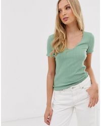 Mango - V Neck Ribbed T Shirt In Mint - Lyst