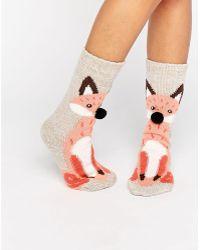 New Look - Snow Fox Slipper Socks - Lyst