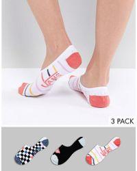 Vans - 3pk Stripe Check Socks - Lyst