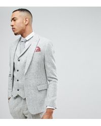 ASOS | Tall Slim Suit Jacket In 100% Wool Harris Tweed In Light Grey | Lyst