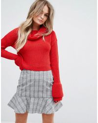 Missguided - Open Stitch Roll Neck Jumper - Lyst