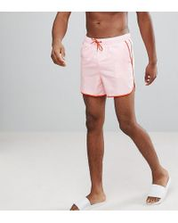 ASOS - Tall Runner Swim Shorts In Pink With Red Binding In Short Length - Lyst
