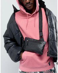 ASOS - Design Leather Cross Body Bag In Black - Lyst