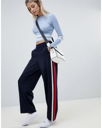 ONLY - Sports Stripe Wide Leg Trouser - Lyst