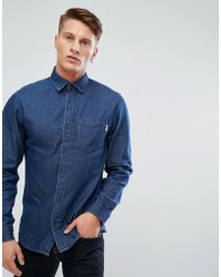Jack & Jones - Intelligence Relaxed Fit Denim Shirt In Dark Blue Wash - Lyst