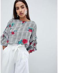 AX Paris - Long Sleeve Top In Rose Print - Lyst