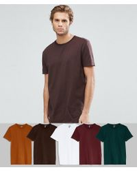 ASOS - Longline T-shirt With Crew Neck 5 Pack Save - Lyst