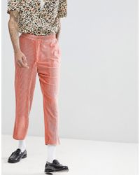 ASOS - Tapered Suit Pants In Pink Velvet Plisse Fabric With Patch Pockets - Lyst