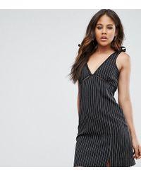 Missguided - Pinstripe Tie Shoulder Mini Dress - Lyst
