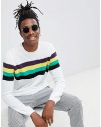 ASOS - Jumper With Chest Stripes In White - Lyst