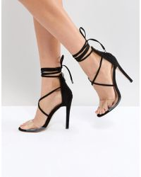 Public Desire - Aster Black Clear Strappy Sandals - Lyst