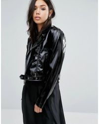 First & I - Cropped Patent Leather Look Jacket - Lyst