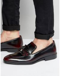 ASOS - Fringe Loafers In Burgundy Leather - Lyst