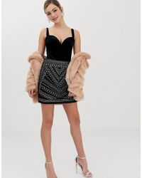 Oasis - Studded A-line Mini Skirt In Black - Lyst