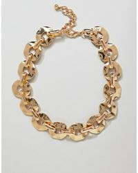 ASOS DESIGN - Statement Necklace With Hammered Link Chain In Gold - Lyst