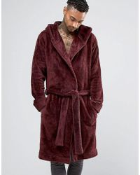 ASOS - Hooded Fleece Robe In Burgundy - Lyst