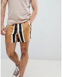 ASOS - Design Slim Shorts In Block Stripe - Lyst