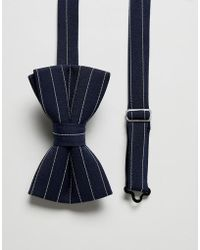 ASOS - Striped Bow Tie In Navy - Lyst