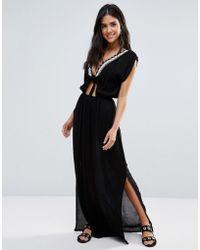 Liquorish - Beach Dress With Tie Front - Lyst