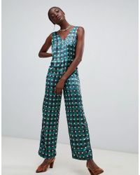 7314a9135939 Pieces - Check Polka Dot V Neck Jumpsuit - Lyst