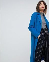 HUGO - Double Breasted Oversized Coat In Cobalt - Lyst
