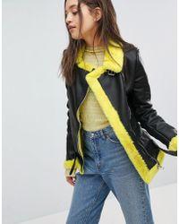Bershka - Faux Fur Contrast Biker Jacket - Lyst
