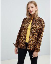 Daisy Street - Trucker Shacket In Leopard Print - Lyst