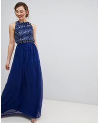 Frock and Frill - Frock & Frill Maxi Dress With Heavily Embellished Body - Lyst