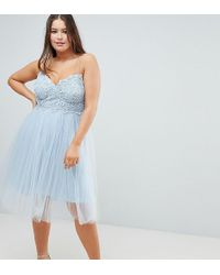 4ac2fe66b987 ASOS Asos Design Petite Mini Tulle Prom Dress With Cut Out Side in Pink -  Lyst