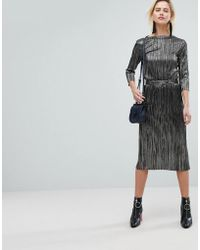 Warehouse | Metallic Plisse A-line Skirt | Lyst