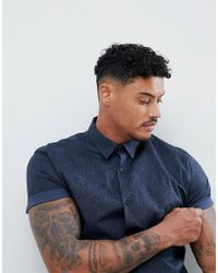River Island - Muscle Fit Shirt In Navy Paisley Print - Lyst