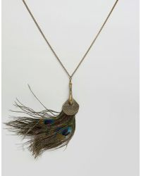 Ruby Rocks - Faux Peacock Feather Necklace - Lyst