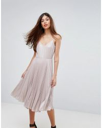 Warehouse - Lame Pleated Cami Dress - Lyst