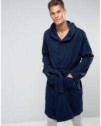 New Look | Fleece Dressing Gown In Navy | Lyst
