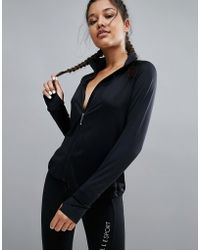 ELLE Sport - Raglan Zip Through Gym Jacket - Black Mesh - Lyst