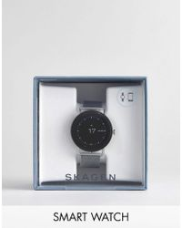 Skagen - Connected Skt5000 Falster Mesh Display Smart Watch In Silver - Lyst