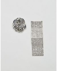 ASOS - Statement Mismatch Petal And Wave Earrings - Lyst