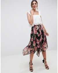 21188544fa ASOS - Soft Floral Print Midi Skirt With Layered Hanky Hem - Lyst