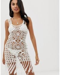 07c6f43892d Liquorish Crochet Beach Cover Up With Lace Up Front in White - Lyst