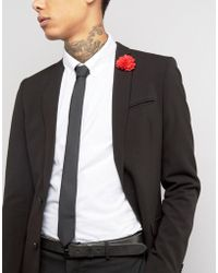 ASOS - Black Tie With Red Flower Lapel Pin Pack - Lyst