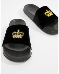 ASOS - Design Sliders In Black Velvet With Crown Embroidery - Lyst