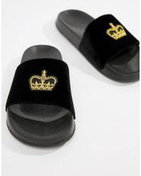 ASOS - Sliders In Black Velvet With Crown Embroidery - Lyst