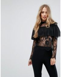 Club L Lace High Neck Overlay Frill Top
