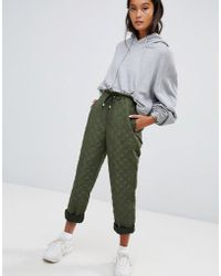 ASOS DESIGN - Quilted Joggers In Green - Lyst