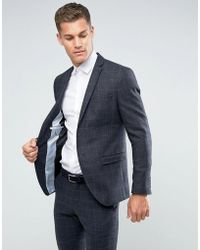 SELECTED - Slim Suit Jacket In Wool Mix With Grid Check - Lyst