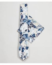 Moss Bros - Moss London Wedding Tie And Pocket Square Set In Floral Print - Lyst