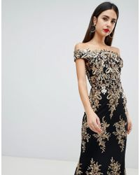 Goddiva - Off Shoulder Bardot Placement Lace Maxi Dress In Black And Gold - Lyst